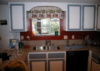 Original sink in galley kitchen, very small, and the dropped 7' ceiling made it feel even smaller