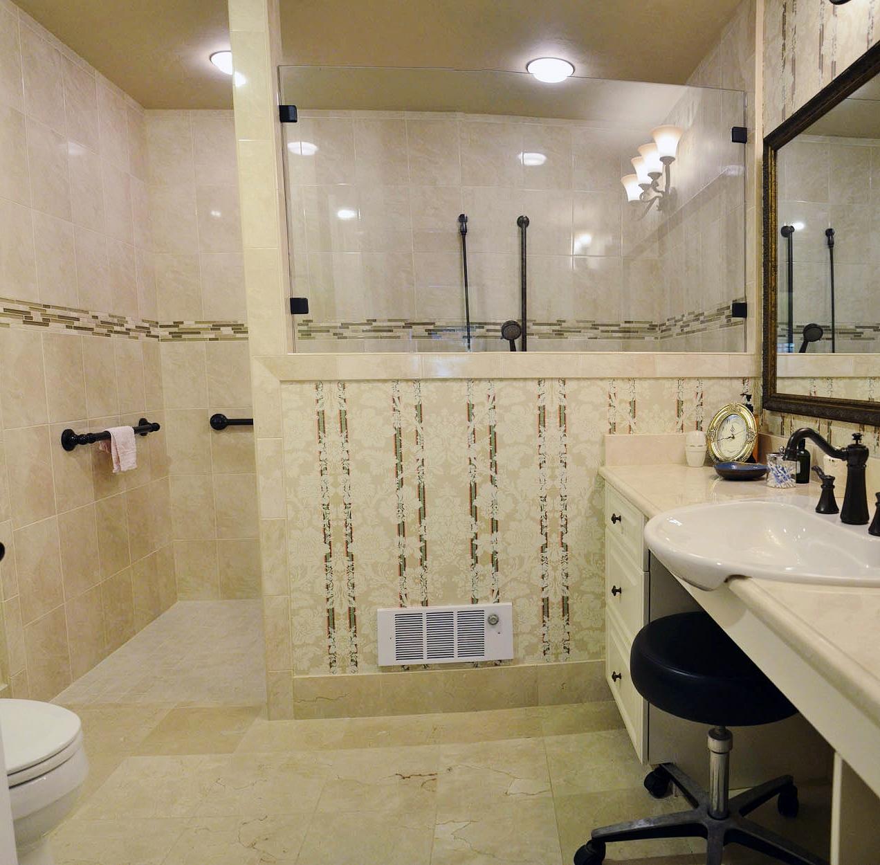 barrier free shower, Moen grab bars, Kohler sink, oil rubbed bronze Moen faucets