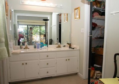 Looking at the old vanity and mirror