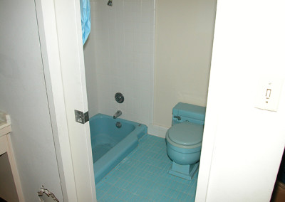 blue tub, blue tile, blue toilet all very old