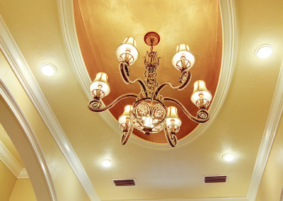Trey Ceiling and chandelier